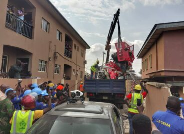 Third passenger confirmed dead as LASEMA recovers wrecks of Lagos crashed helicopter in Opebi