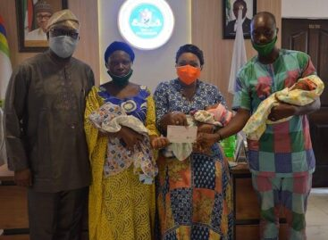 Family of triplets receives financial support from LASG