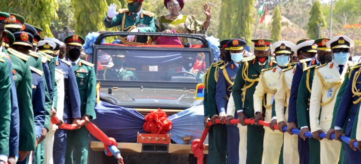DHQ HOLDS PULL-OUT PARADE IN HONOUR OF IMMEDIATE PAST CDS GENERAL OLONISAKIN