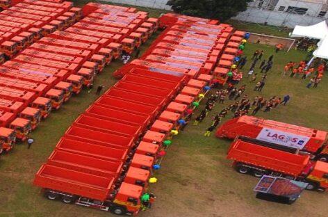 Sanwo-Olu launches 102 locally assembled compactor trucks, 100 Dino bins